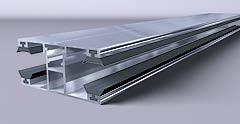 """Aluminium Profil """"Duo"""" Mitte 16mm / 60mm Breite"""