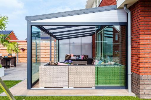 Glasschiebewand 2500mm Länge - Einbauhöhe 2200mm