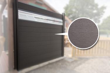 BPC Sichtschutzelement GroJaSolid 180 x 180 x 1,9cm anthrazit mit 30cm Design-Glaseinsatz