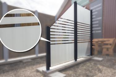 Sichtschutzzaun Glas satinert m. Streifen 90/180