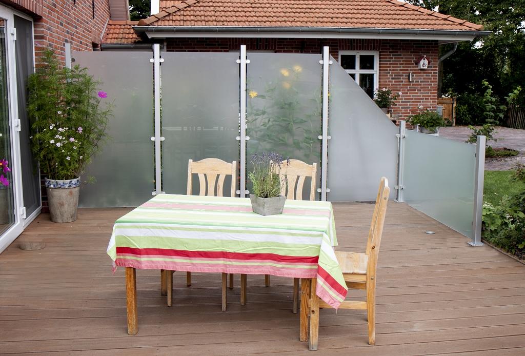 sichtschutzzaun glas satinert 90 180 dachplatten24. Black Bedroom Furniture Sets. Home Design Ideas