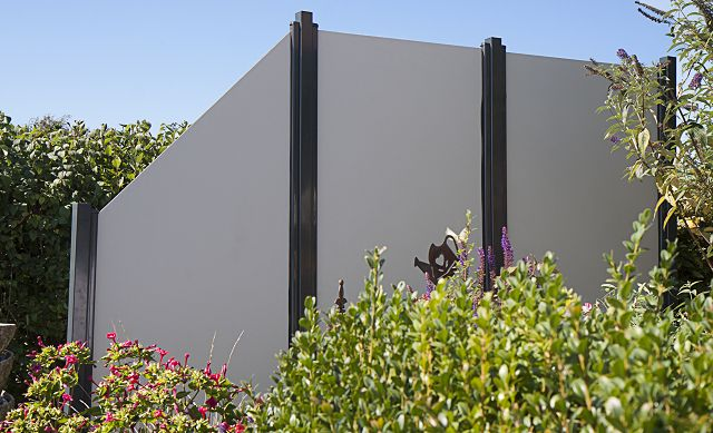 sichtschutzzaun hpl uni grau 90 180 dachplatten24. Black Bedroom Furniture Sets. Home Design Ideas