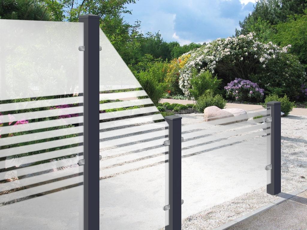 sichtschutzzaun glas satinert m streifen 90 180 dachplatten24. Black Bedroom Furniture Sets. Home Design Ideas