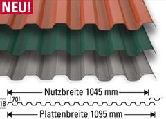lichtplatten pvc 1 2 mm trapezprofil 70 18 farbig dachplatten24. Black Bedroom Furniture Sets. Home Design Ideas