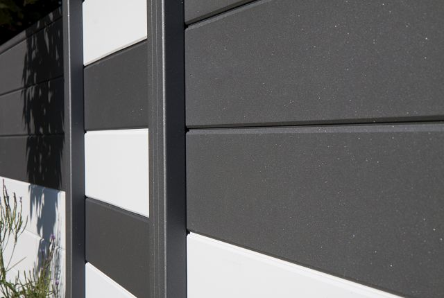 sichtschutzzaun aluminium anthrazit 180 180 dachplatten24. Black Bedroom Furniture Sets. Home Design Ideas