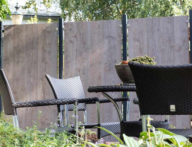 sichtschutzzaun hpl holzoptik 90 180 dachplatten24. Black Bedroom Furniture Sets. Home Design Ideas
